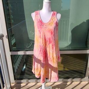 Tie Dye Orange, Pink, White Flowy Dress O/S